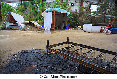 Burned bed - View of Burned bed in industrial shed