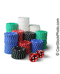 Casino chips - Stack of gambling chips and dice isolated on...