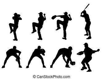 beisball, jugadores, Siluetas