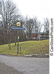 streetsign at olympic park in Munich - In 1972 the Olympic...