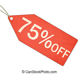 Seventy Five Percent Off Sale Red Tag and String - A red,...