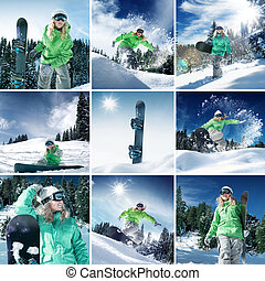 snow collage - snowboarder theme collage composed of a few...