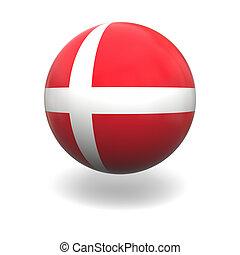 Dannish flag - National flag of Denmark on sphere isolated...
