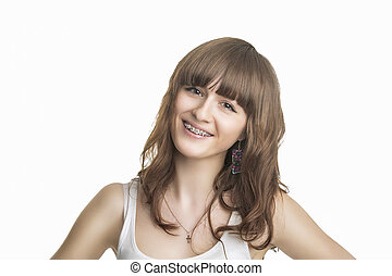Portrait of Beautiful Young Woman With Brackets on Teeth -...