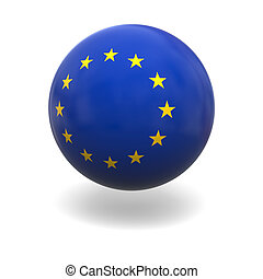 EU flag - Flag of European Union on sphere isolated on white...