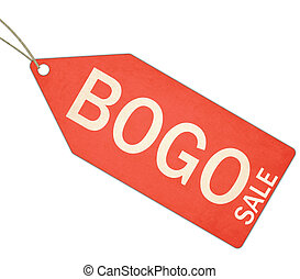BOGO Buy One Get One free Red Tag and String - A red, and...