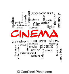 Cinema Word Cloud Concept in red caps