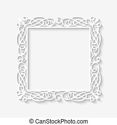 Vector vintage white frame background with long shadows....