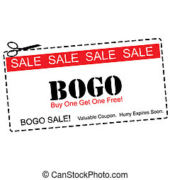 BOGO Buy One Get ne Free Sale Coupon - A red, white and...