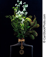 Oriental Vase and Flowers - Oriental clay vase and bouquet.