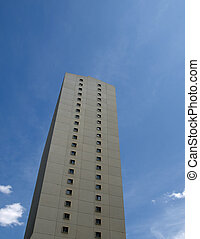 Hirise Apartment on Blue Sky - Isolated apartment building...