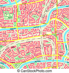 Seamless map unknown city. - Seamless background detailed...