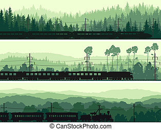Train and hills coniferous wood. - Horizontal abstract...
