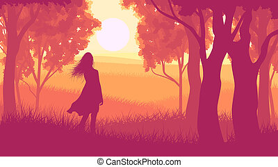 Silhouette girl in sunset forest - Vector illustration of...