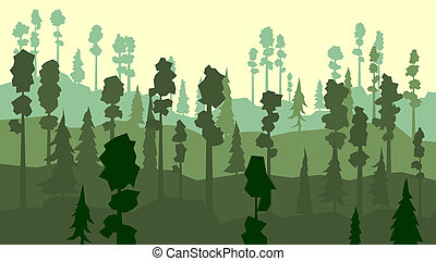 Coniferous forest in green tone. - Vector abstract cartoon...