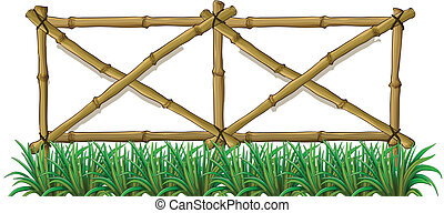 A bamboo fence with grass - Illustration of a bamboo fence...