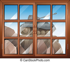 A window across the cliff with a tank