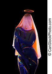 Faceless woman with halo and neon pattern on body
