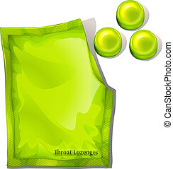 A pack of green throat lozenges - Illustration of a pack of...