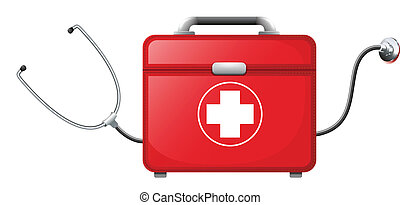 A stethescope inside a medical bag - Illustration of a...
