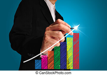 business man writing over achievement bar chart