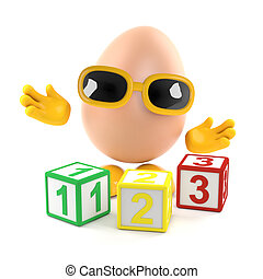 3d Egg learns to count - 3d render of an egg with wooden...