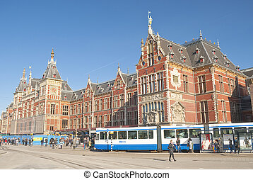 AMSTERDAM, HOLLAND - MARCH, 25: Main train station with...