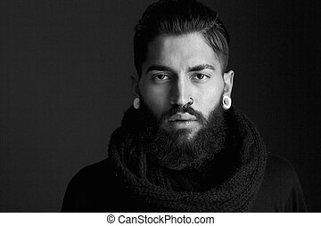 Male fashion model with beard - Black and white close up...