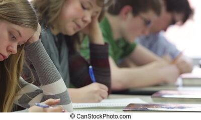 students taking a test - High school students taking a test
