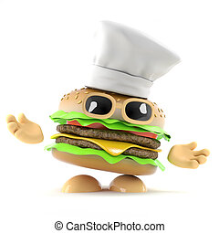 3d Burger chef - 3d render of a burger wearing a chefs hat