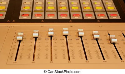 Studio control panel sliders lights - Stage audio control...