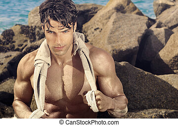 Hunk man - Outdoor portrait of a fit sexy fit man