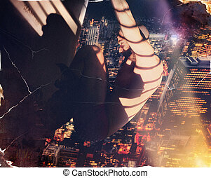 Hero hanging from building - Creative cool concept photo of...
