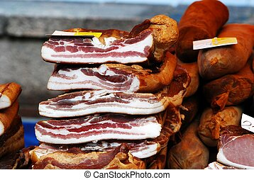 Pieces of smoked bacon