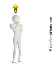 3d man thinking and yellow light bulb above
