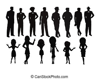 ladies and men silhouette set - men and women in silhouette...