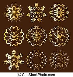floral, radial, oro, ornamento