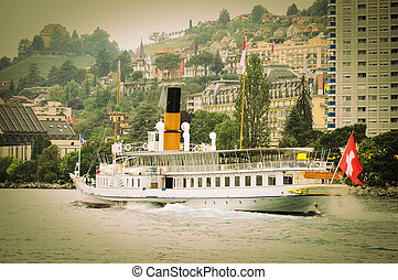 Old steamship near Montreux Geneve lake Switzerland