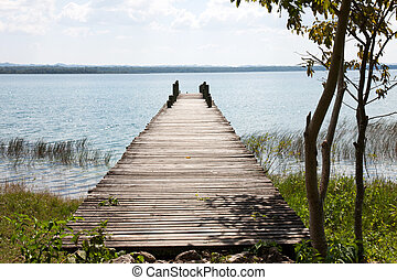 Peten lake, Flores, Guatemala - A dock in the Peten lake,...