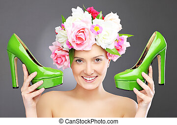 Spring woman with flowers and shoes