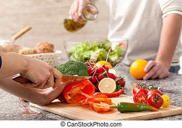 Cutting a vegetables for salad - Cutting a vegetables for a...