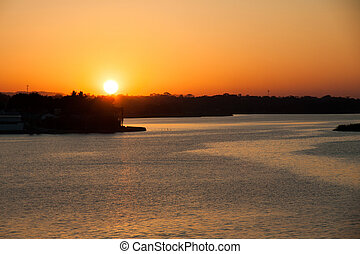 Peten lake, Flores, Guatemala - Sunset in the Peten lake,...