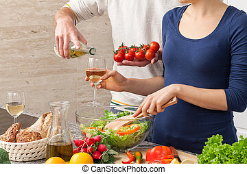 Marriage at home - Happy marriage spending free time cooking...
