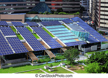 Solar panel on building roof top