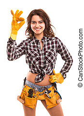 Construction worker - Sexy young woman construction worker...