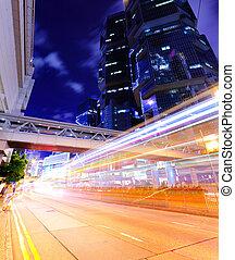cidade, ocupado, tráfego, modernos