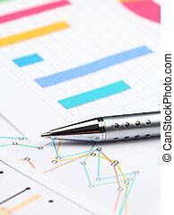 relazione, grafico, affari, analisi