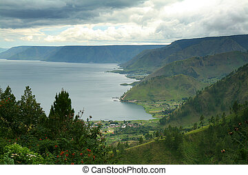 Lake Toba - Aerial view of Lake Toba in North Sumatra,...