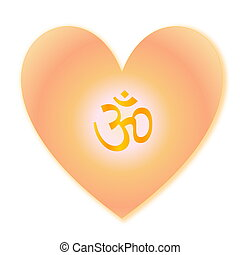 Aum in heart - Golden aum in heart isolated into white...