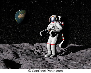 Man on the moon - 3D render - Astronaut on moon with earth...